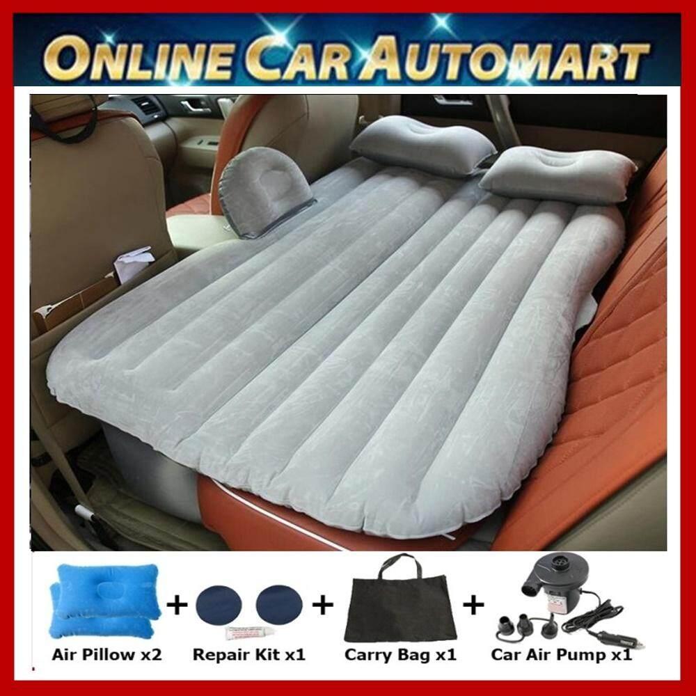 Inflatable Car Air Mattress Bed Outdoor Camping Air Bed Mattress + 2 Pillows + 12v Air Pump (myvi, Saga, Waja, Persona, Exora, Alza, Axia, Bezza, City, Civic, Accord, Jazz, Vios, Camry, Altis, Vellfire, Livina, Sylphy, Latio Etc) Grey/black By Online Car Automart.
