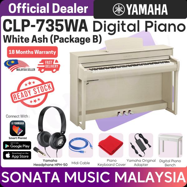 YAMAHA CLAVINOVA CLP-735 WA White Ash DIGITAL PIANO Package A (CLP735 / CLP 735 / CLP 625 / CLP 635 / CLP 745) Package B Malaysia