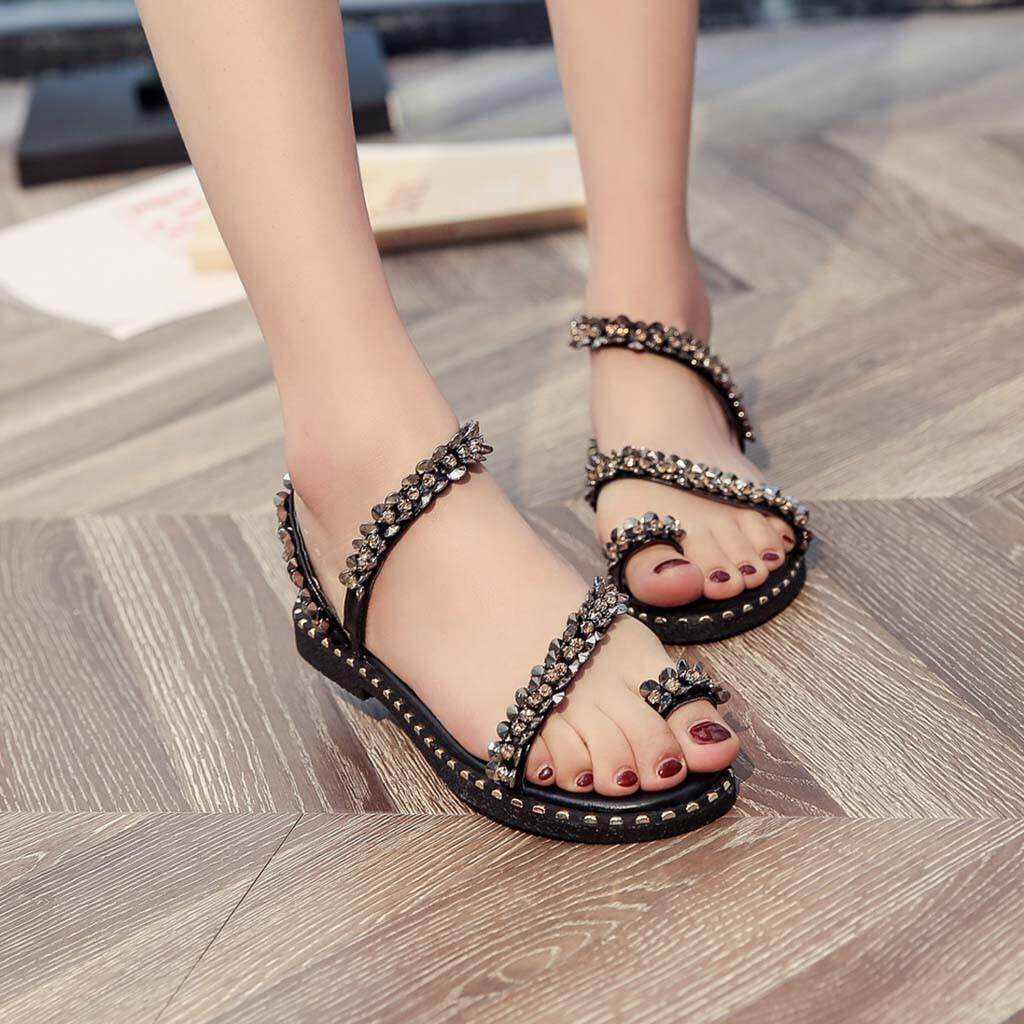 60e9124d4f6 Auburyshop Women Ladies Fashion Crystal Bling Round Toe Flat Casual Loafers Sandals  Shoes Reference EU