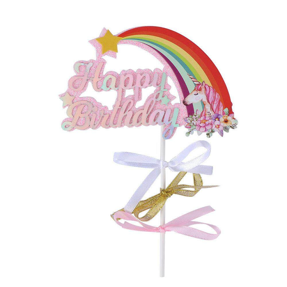 Cute Biling Rainbow Cloud Unicorn Happy Birthday Cake Topper For Baby Shower Party