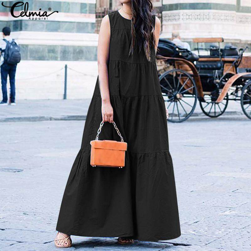 c668c5f50 Celmia Women Summer Beach Sleeveless A Line Maxi Dress Holiday Baggy Long  Sundress
