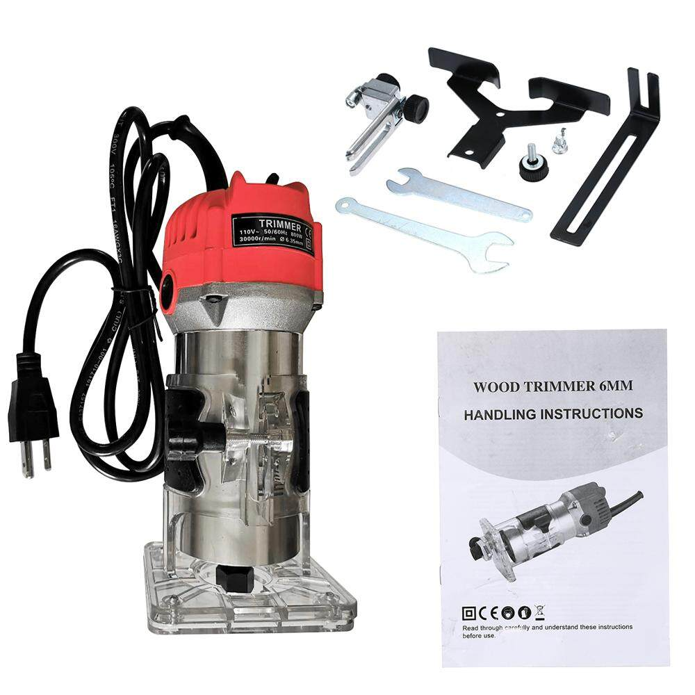 KKmoon 110V 800W Trim Router 30000r/min with Transparent Base Edge Guide Wood Laminate Electric Trimmer Compact Palm Router Corded for Woodworking Trimming Slotting Notching / Aluminum Red / US
