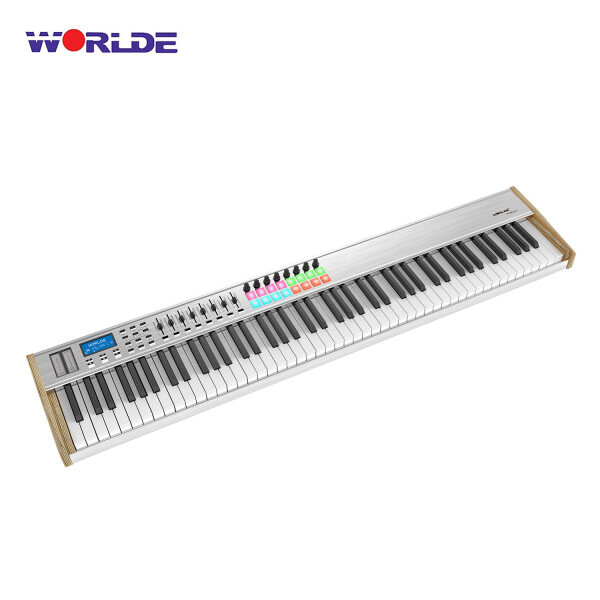 WORLDE P-88 Pro 88-Key USB MIDI Keyboard Controller LCD Display with 88 Semi-weighted Keys 16 RGB Backlit Trigger Pads 8 Assignable Sliders for Music Studio Stage Live Performance Malaysia