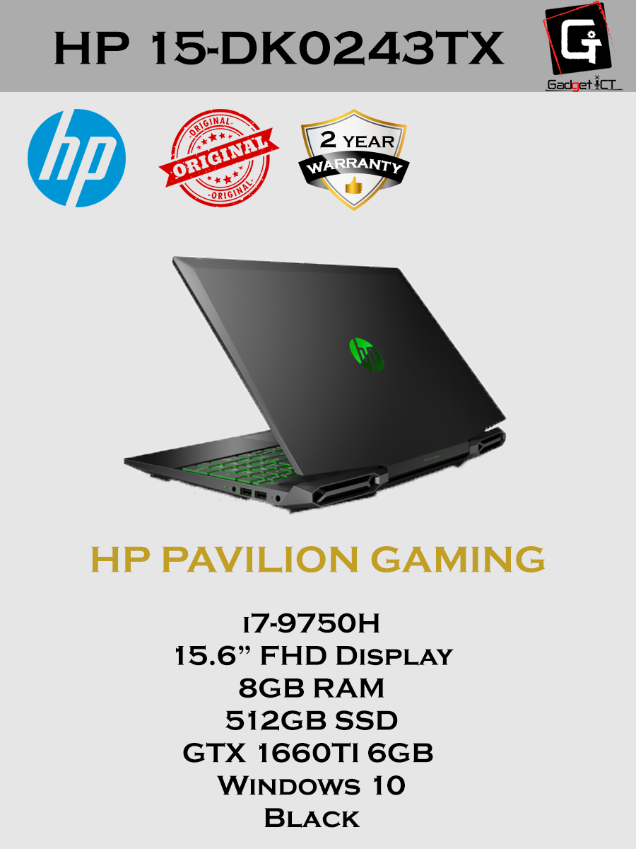 HP Gaming Pavilion - 15-DK0243TX(Intel Core i7-9750H/8 GB RAM DDR4-2666/NVIDIA GTX 1660 Ti 6GB/512GB SSD/Windows 10 Home/Black/2 YEARS WARRANTY) Malaysia