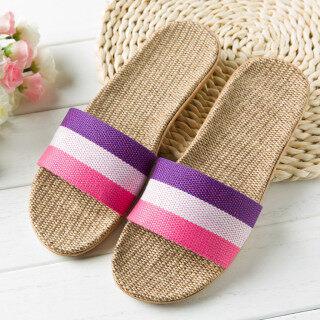 Giày Bệt Hở Ngón Trong Nhà Bằng Vải Lanh Chống Trượt Thời Trang Cho Nữ Bãi Biển Dép Đi Trong Nhà thumbnail