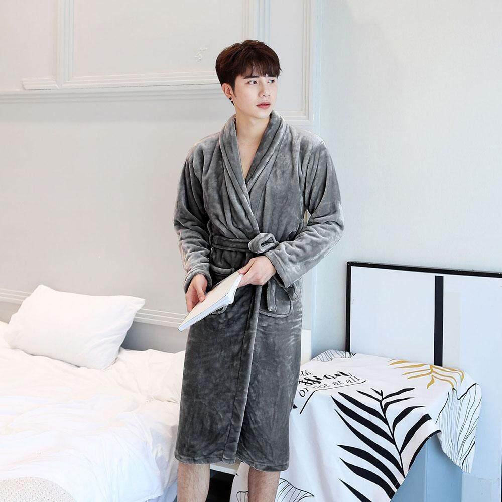 Wuli Men Women Super soft Fleece Bath Robe Shawl Dressing Gown Robe Long  Sleeve Sleepwear Pajamas 8daf2fa31