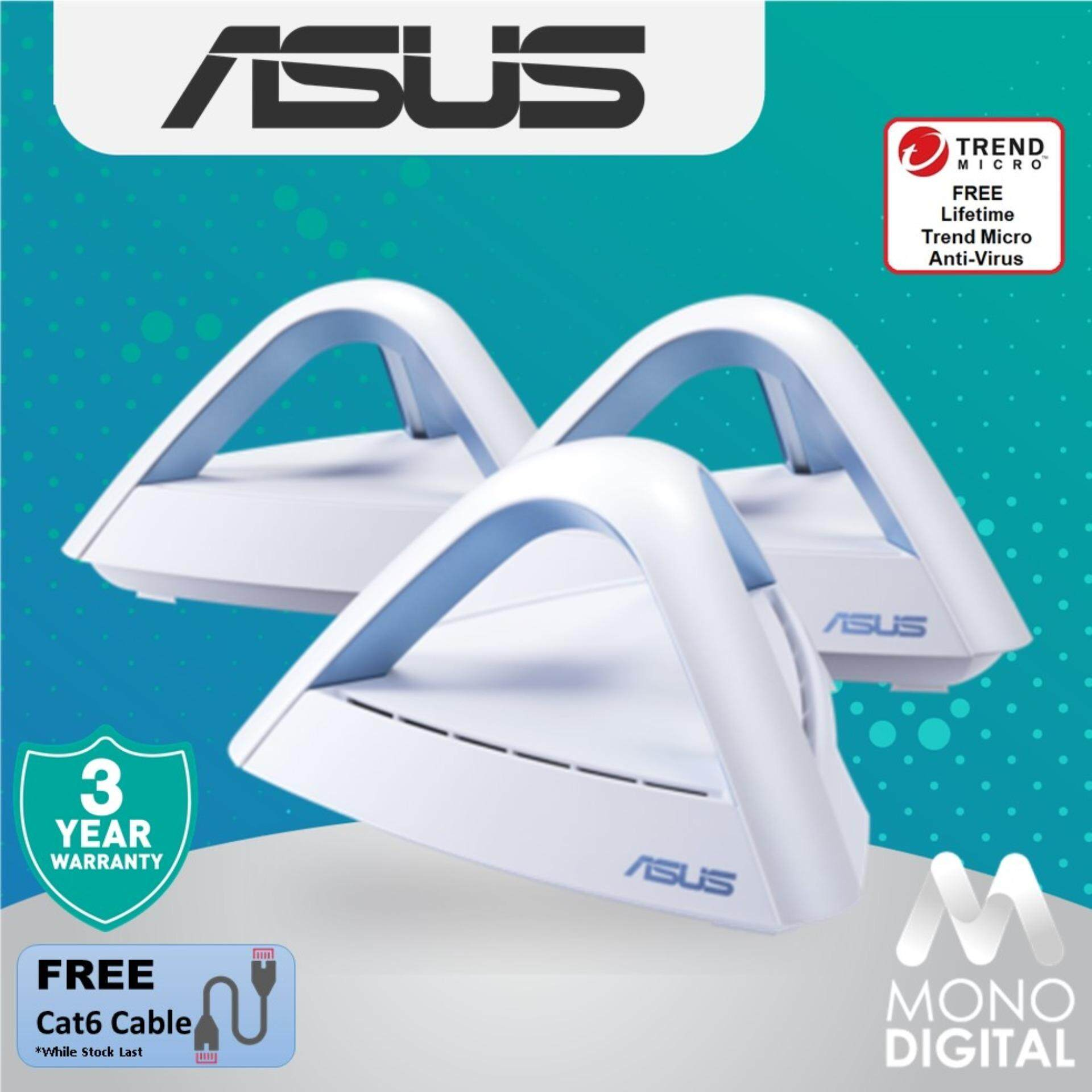 ASUS LYRA TRIO (3-Pack) AC1750 Dual Band Mesh WiFi System For UNIFI, MAXIS  and TIME Fibre Wireless Routers Wifi Routers Mesh Network Mesh Router (Free