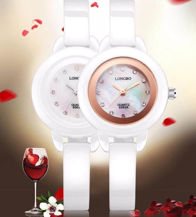 (30m waterproof)LONGBO 6063A Women Quartz Watch Top Luxury Brand Ceramic Women Dress Fashion Ladies Watches Clock Female Japan Artificial Diamond Dial Water Resistance Wristwatch Wrist Watch Malaysia