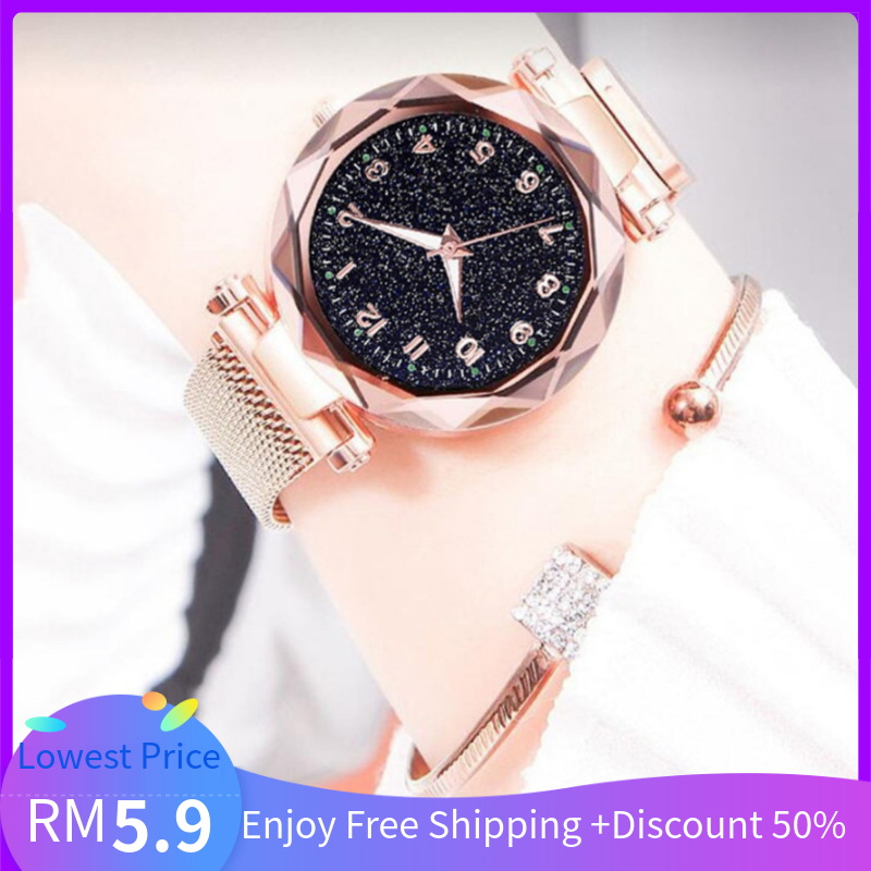 New Arrival Fashion Casual Luminous Quartz Women Watch Wristwatch with Numbers Starry Dial for Ladies Malaysia
