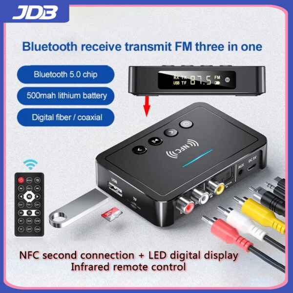 JDB 2021 New Product NFC Bluetooth Receiver 5.0 Bluetooth Transmitter FM Three-in-One RCA Audio Receiver 3.5mm AUX Jack Bluetooth Adapter Black With Remote Control Universal