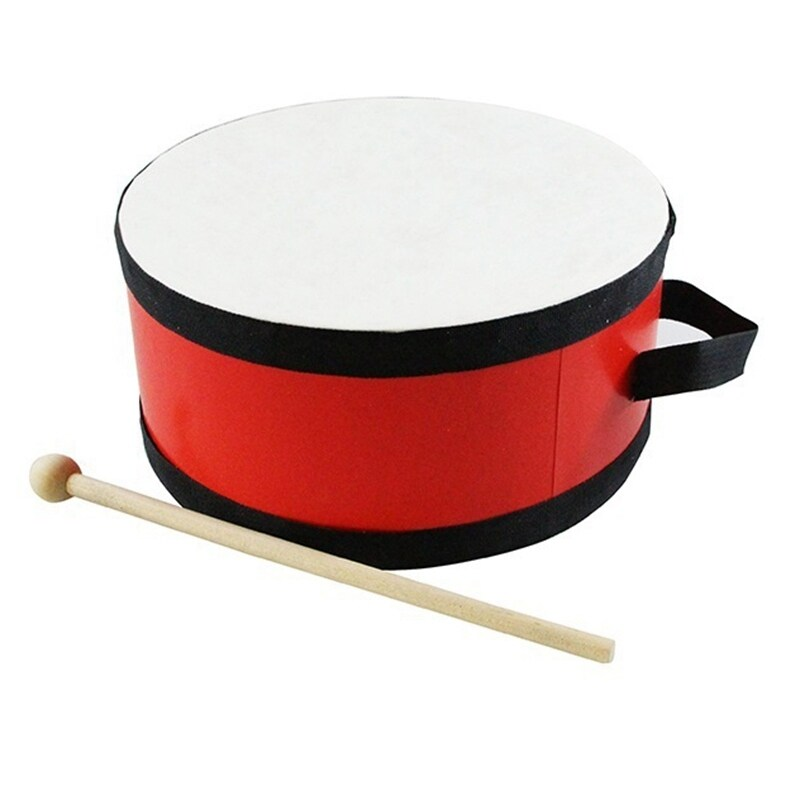 Portable Wooden Polyester Skin Tambourine Drum with Drumstick Percussion Musical Educational Toy Instrument