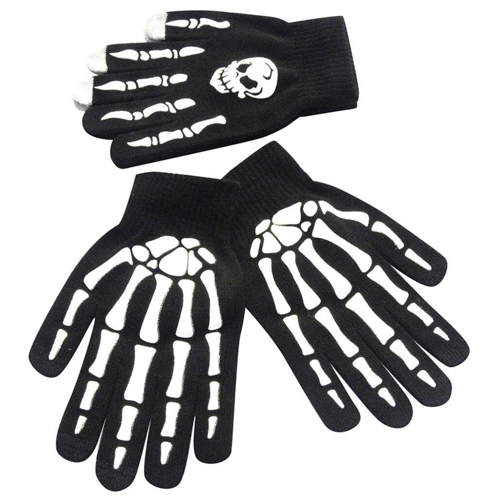 885c1ca397 Lambertshop 1Pair Men Skull Bone Skeleton Goth Racing Non-Slip Sports Full  Finger Gloves