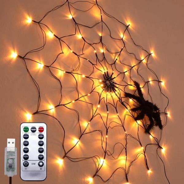 100 LED Halloween Black Spider Web Light Waterproof Orange Net Lights and 1 Black Spider for House Yard Garden Indoor Outdoor Decor