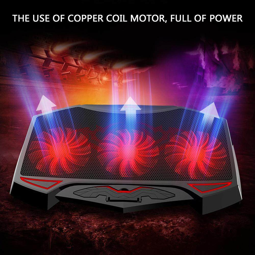 OnLook 12 to 17 Inch Gaming Laptop Cooling Pad - KOBWA Slim Portable Dual USB Powered 3 Heavy Duty Quiet Fans Height Angle Adjustable Notebook Mounts Cooler with Red LED Lights, tray for mac