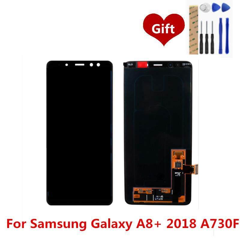 Untuk Samsung Galaxy A8 + 2018 A730F Layar LCD Digitiser Lengkap LCD Layar Sentuh Panel Perakitan Pengganti Suku Cadang 6.0 Inch