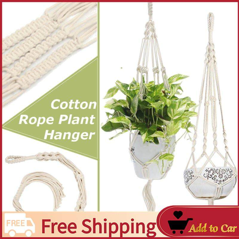 【Free Shipping】4 Cotton Rope Leg Plant Hanger Hanging Planter for Basket Balcony Indoor Outdoor