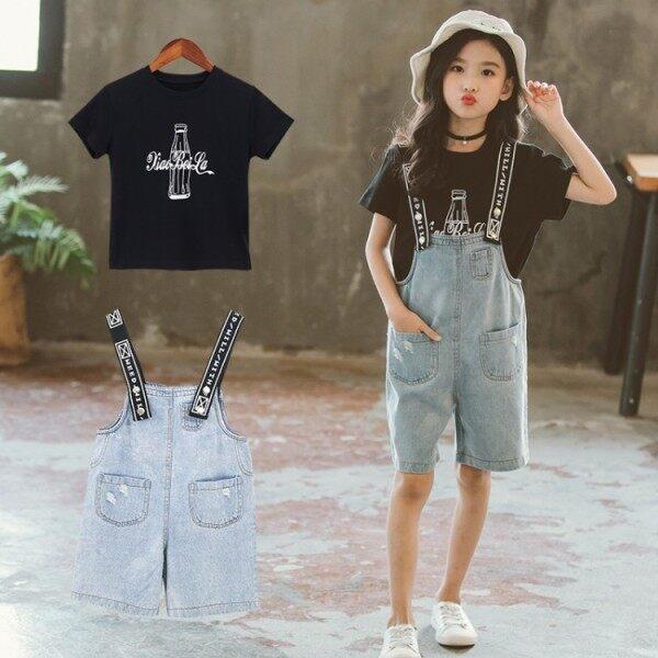 Giá bán Già hơn Quần áo trẻ em Áo thun ngắn tay cho bé gái + Quần yếm denim Bộ đồ trẻ em mùa hè