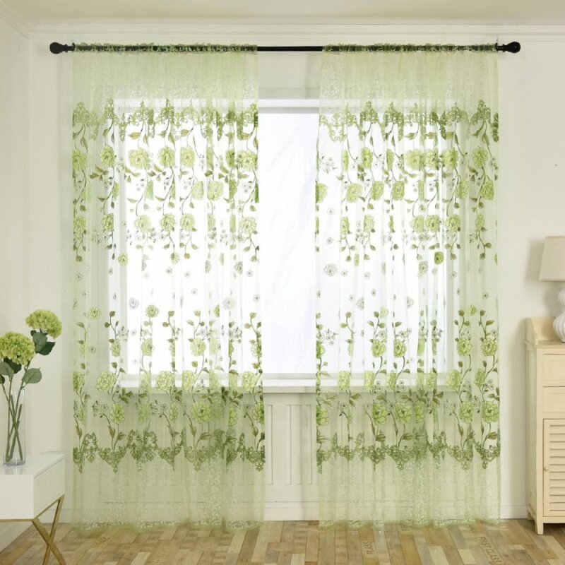 Rèm In Offset Hoa Mẫu Đơn Sợi Vải Tuyn Rèm, Để Trang Trí Nhà Cửa Phòng