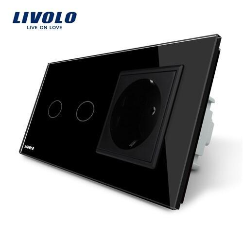 Công Tắc Cảm Ứng Livolo 16A Tiêu Chuẩn EU Tường Ổ Cắm Điện Có Công Tắc Cảm Ứng AC220 ~ 250V Trắng Thủy Tinh Pha Lê Bảng VL-C702-11/ VL-C7C1EU-11