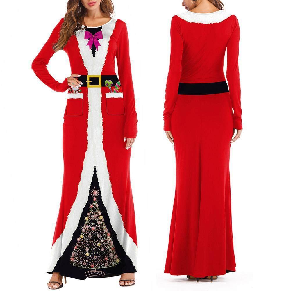 ❤Phụ Nữ Tiệc Giáng Sinh Dài Tay Ông Già Noel In Hóa Vai Trò Chơi Đầm cao cấp