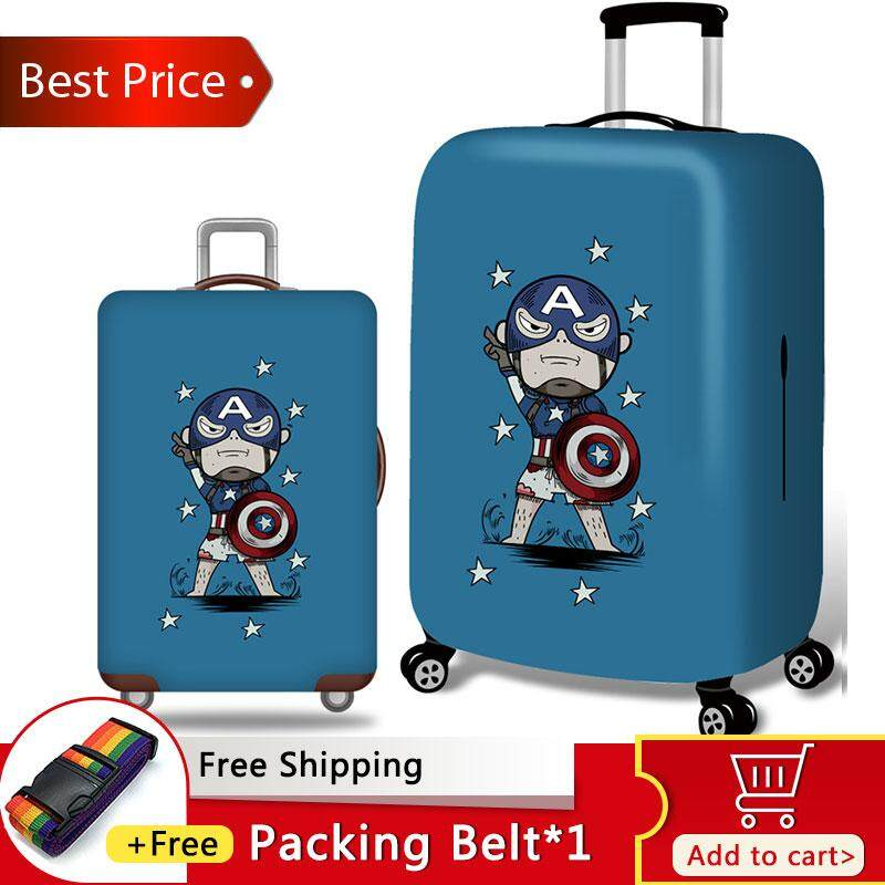 Puerto Rico Flag Elastic Travel Luggage Cover,Double Print Fashion Washable Suitcase Protective Cover Fits 18-32inch Luggage