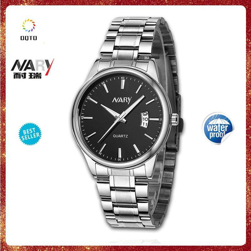 3a8403692a3977 NARY 6115 Men Fashion Brand Calender Male Clock Casual Stainless Steel  Luxury Waterproof Quartz Wrist Watch