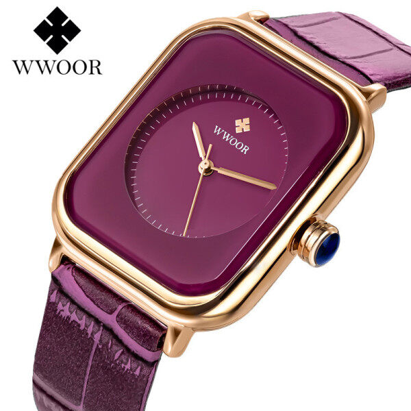 WWOOR Luxury Brand Women Watches Analog Clock Ladies Leather Waterproof Dress Quartz Fashion Wrist Watches Malaysia
