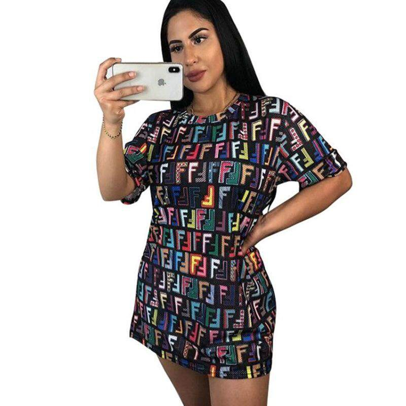 c40d5e510d81 Multi Colour Letters Woman S Dress Personality Tetris Printed O-Neck Summer  Casual Loose Solid Color