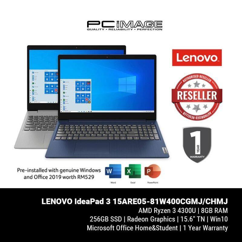 LENOVO IdeaPad 3 15ARE05-81W400CGMJ / 81W400CHMJ 15.6 Laptop - Platinum/Blue (Ryzen3-4300U, 8GB, 256GB, Radeon, Win10, OfficeH&S) Malaysia