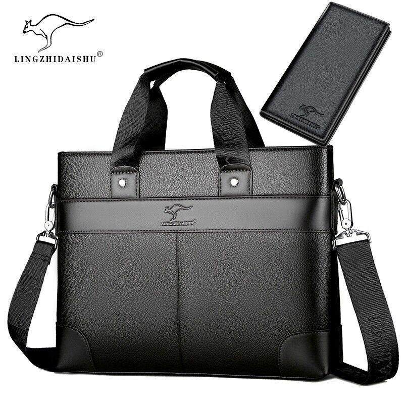 Mens Leather Briefcase Laptop Handbag Messenger Business Bags with Leather Wallet