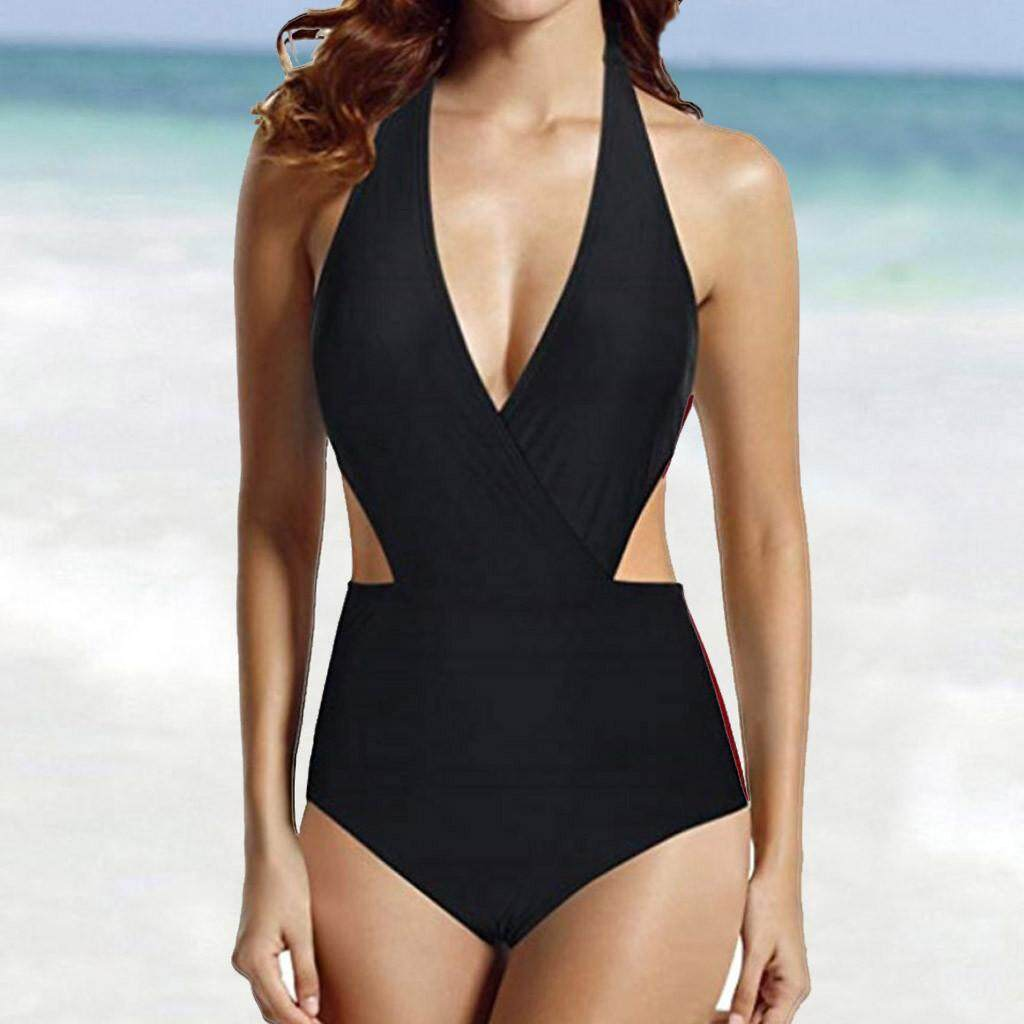 Sports & Entertainment Womens One Piece Swimsuit Black High Neck Short Sleeve Tummy Control Wireless Padded Bathing Suit Swimwear Monokini