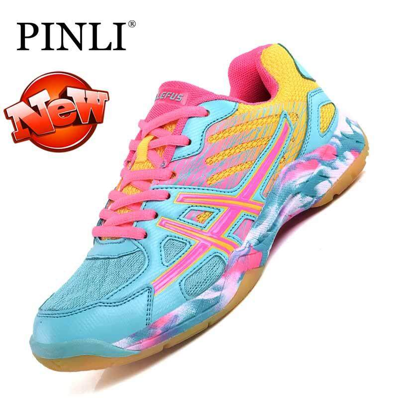 PINLI Women's Badminton Anti-skid Sneaker Training Professional Shoes 31-43