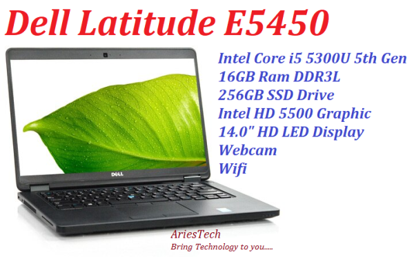 Refurbish Laptop A Grade Dell Latitude E5450 Notebook Intel Core i5 5300U 2.3GHz, 16GB Ram, 256GB SSD, HD 5500 Graphic Malaysia