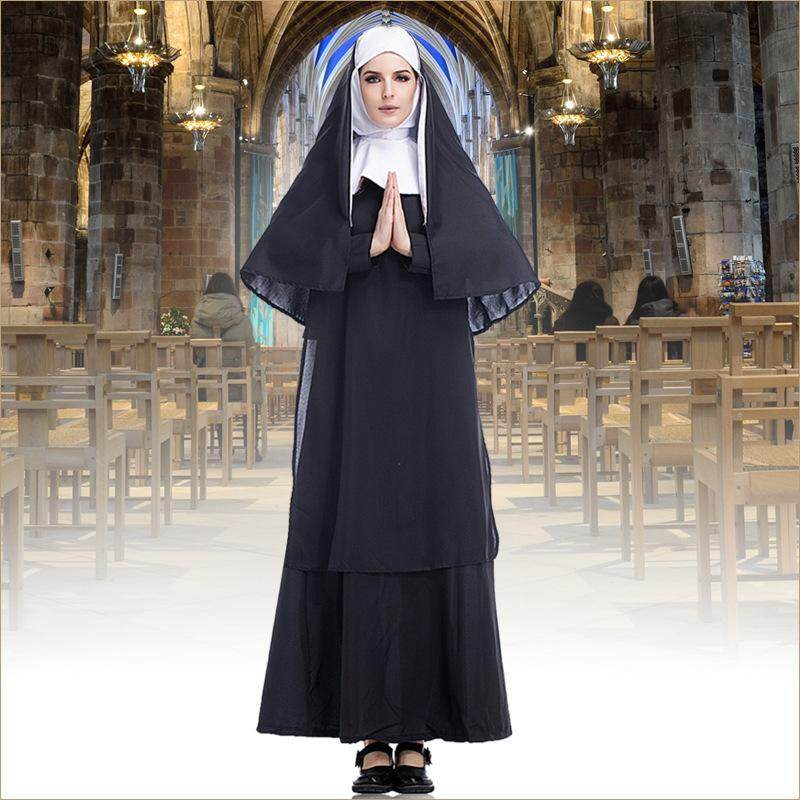 Nun roleplaying Warak costume Virgin Mary long black dress nun costume Arab religious monk ghost uniform Halloween