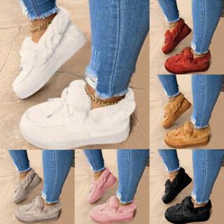 Giày Của Phụ Nữ Giày Giữ Nhiệt Nơ Châu Âu Và Mỹ Mùa Đông, Giày Len Đế Bằng, Giày Của Phụ Nữ thumbnail