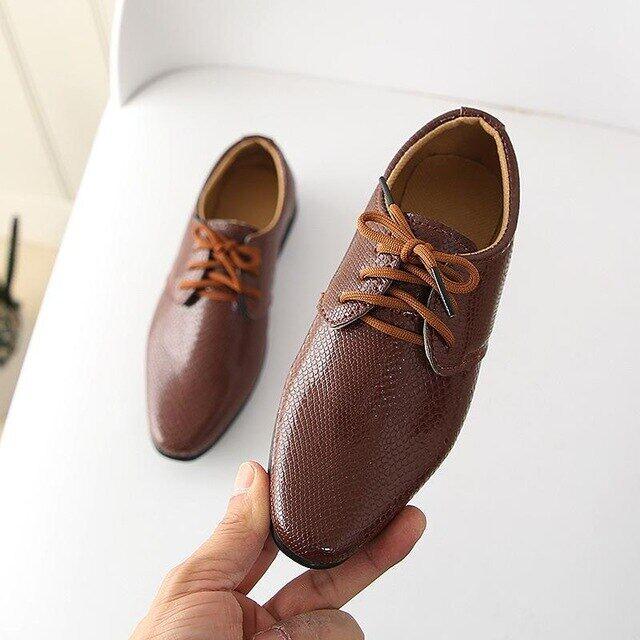 Giày Thể Thao Xuân Thu Trẻ Em Cho Nam Nữ Phong Cách Anh Quốc, Giày Đi Hàng Ngày Cho Trẻ Em, Chất Liệu Da Pu Giày Thời Trang Bé Trai Giày Tây