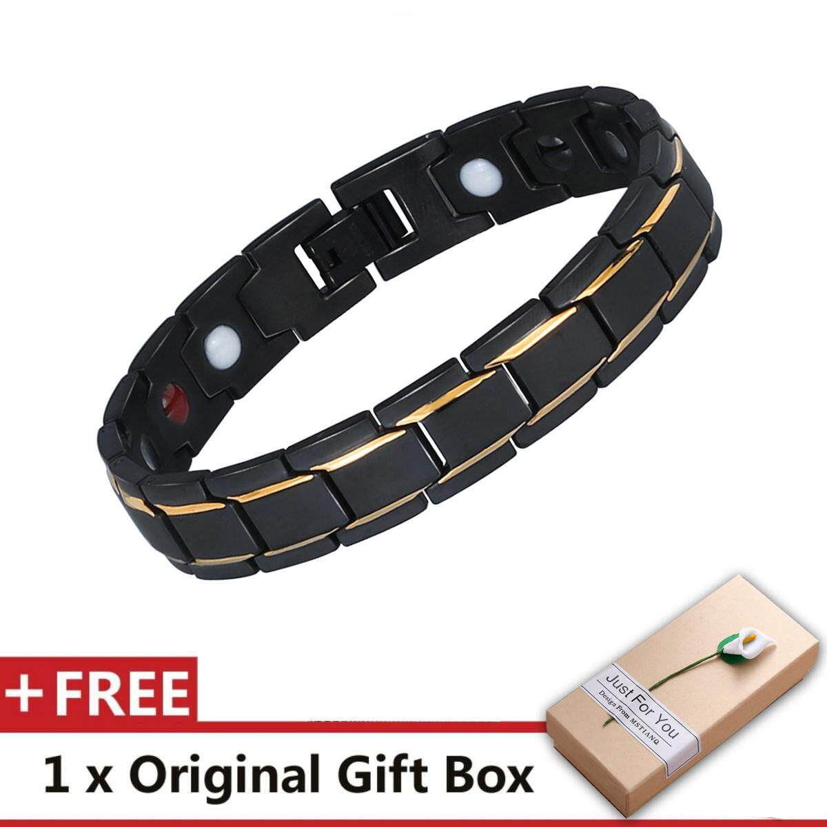 Luxury Fashion Health Energy Bracelet Bangle Men 316L Stainless Steel Magnetic Bracelets Black & Gold Plated Jewelry image on snachetto.com