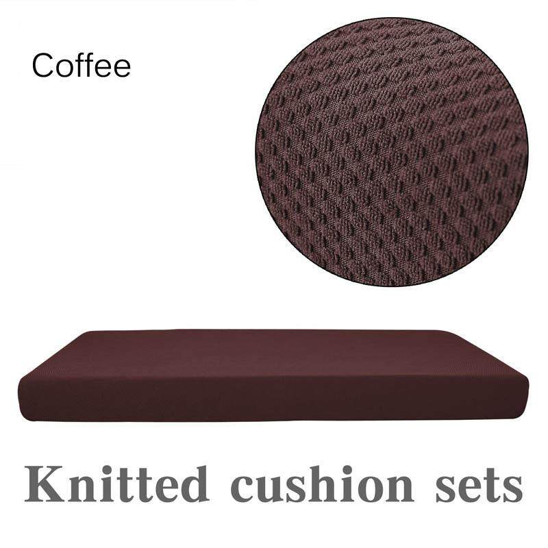 1pc 2-Seat Sofa Cushion Cover Knitted Chair Cover Furniture Protector Spandex Washable Removable Slipcover