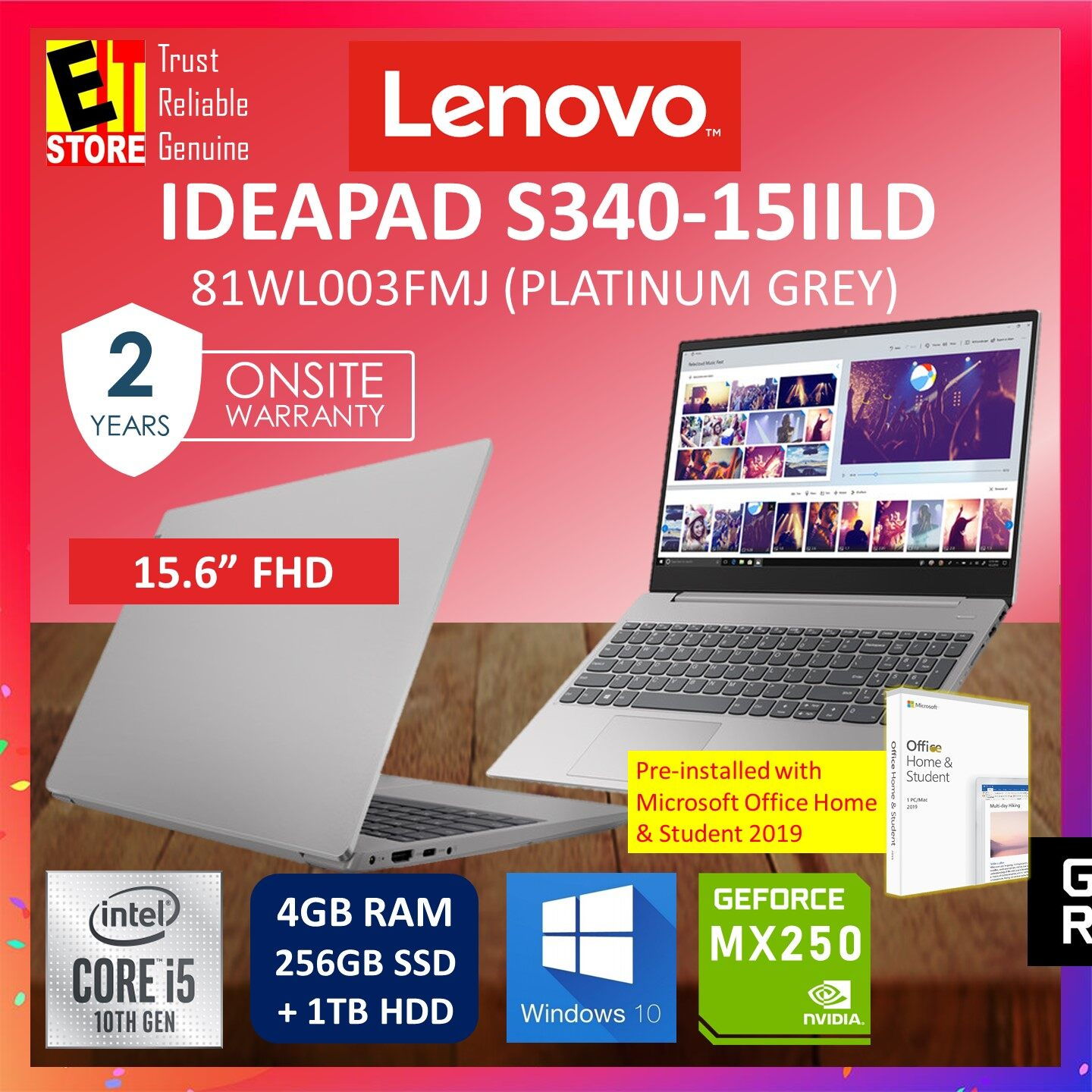 LENOVO IDEAPAD S340-15IILD 81WL003FMJ LAPTOP (GREY) (I5-1035G1/4GB/256GB SSD + 1TB HDD/15.6 FHD/MX250 2GB/W10/2YRS) WITH MS.OFFICE Malaysia
