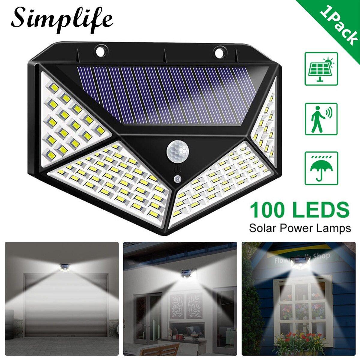 Đèn cảm biến chuyển động với 100 bóng Led sử dụng năng lượng mặt trời có khả năng chống nước IP65 góc rộng 270 độ gắn trên tường thích hợp dùng trong sân vườn cầu thang ga-ra hành lang hàng rào - INTL
