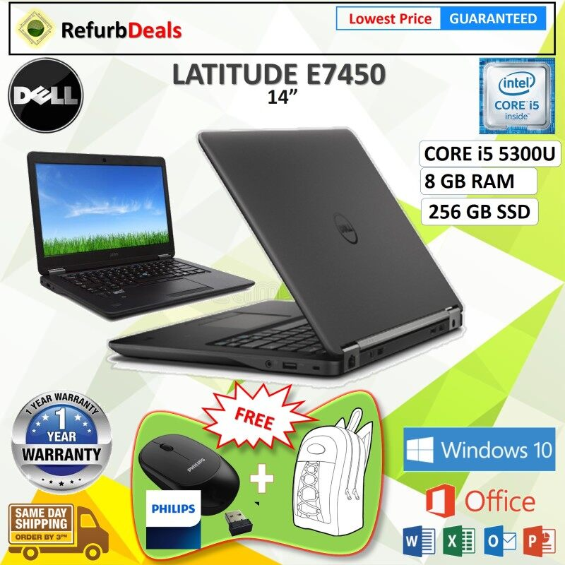 DELL LATITUDE E7450 (SLIM) CORE i5 5300U / 8 GB RAM / 256 GB SSD / 14.1  SCREEN - DELL LATITUDE E7450 SLIM NOTEBOOK / REFURBISHED Malaysia