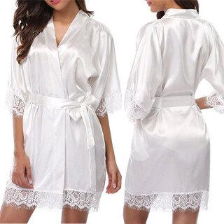 Áo Choàng Ngoại Cỡ Đồ Lót Đồ Lót Gợi Cảm Có Thắt Lưng Và Áo Choàng Quần Lót Đồ Ngủ Lụa Băng, Váy Ngủ Màu Trơn Váy Ngủ Ren Quần Áo Gia Đình Cổ Chữ V Đồ Ngủ Cardigan thumbnail