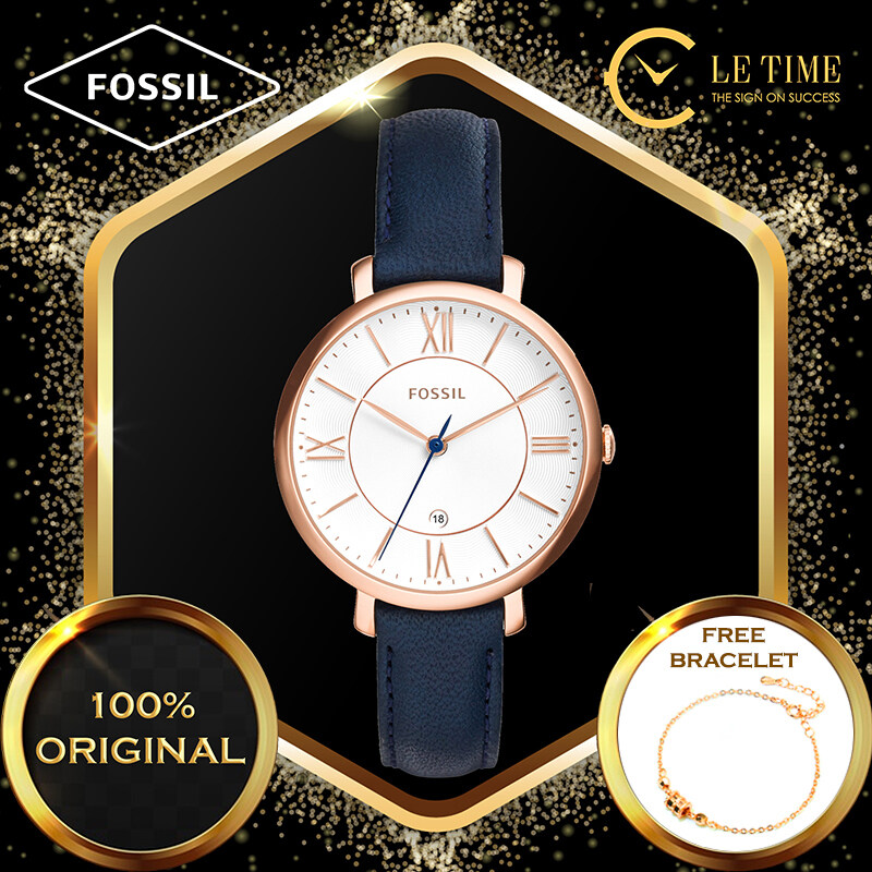 [Authentic *FREE BRACELET*] Fossil Jacqueline Three-Hand Date Blue Leather Women Ladies Watch Jam Tangan Wanita ES3843 Malaysia