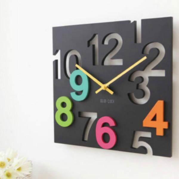 Fashion Hanging Wall Clock Modern Design 3D Silent Design Hollow Design Table Clocks Wall Home Living Room Decor 30cm Square