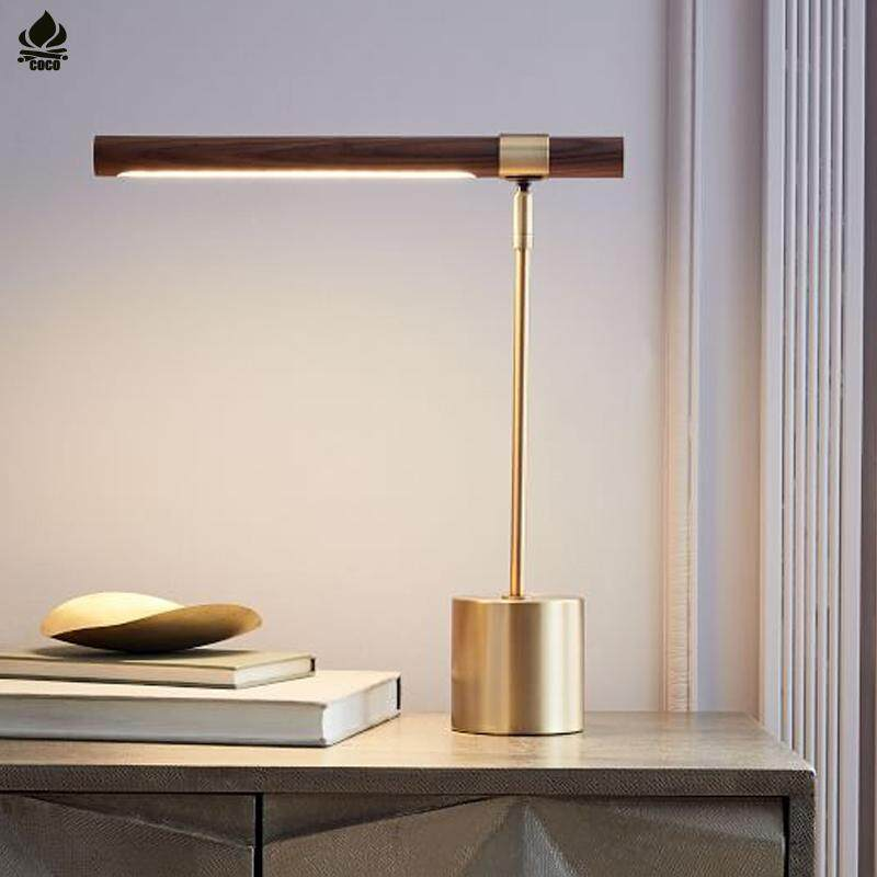 LED Table Lamp Italian Designer Simple Electroplating Copper Wood Table Lamp Hotel Engineering Decoration Table Lamp Bedroom Bedside LED Reading Light Button Switch Energy Saving A++46*41cm