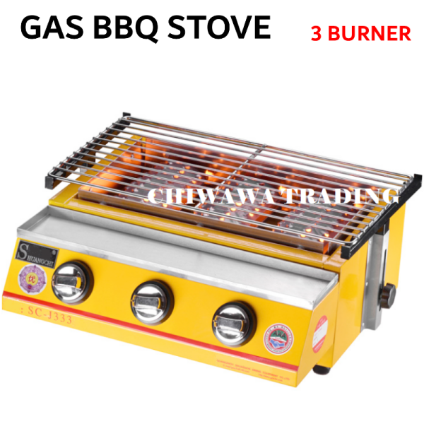 【3 Burners】CE Approval 2800Pa Gas BBQ Grill Stove Non Stick Stainless Steel Roast Bake Barbecue Roaster