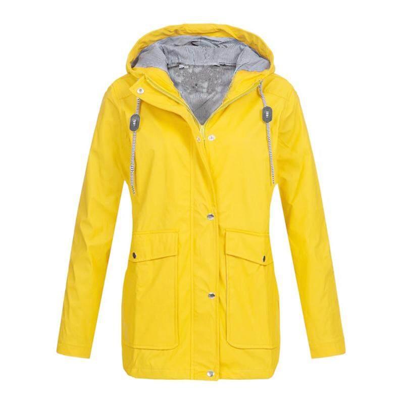 3b1d7585dcbc Fashion Women Hooded Jacket Waterproof Solid Long Sleeve Zip Trench Coat  Rain Outerwear