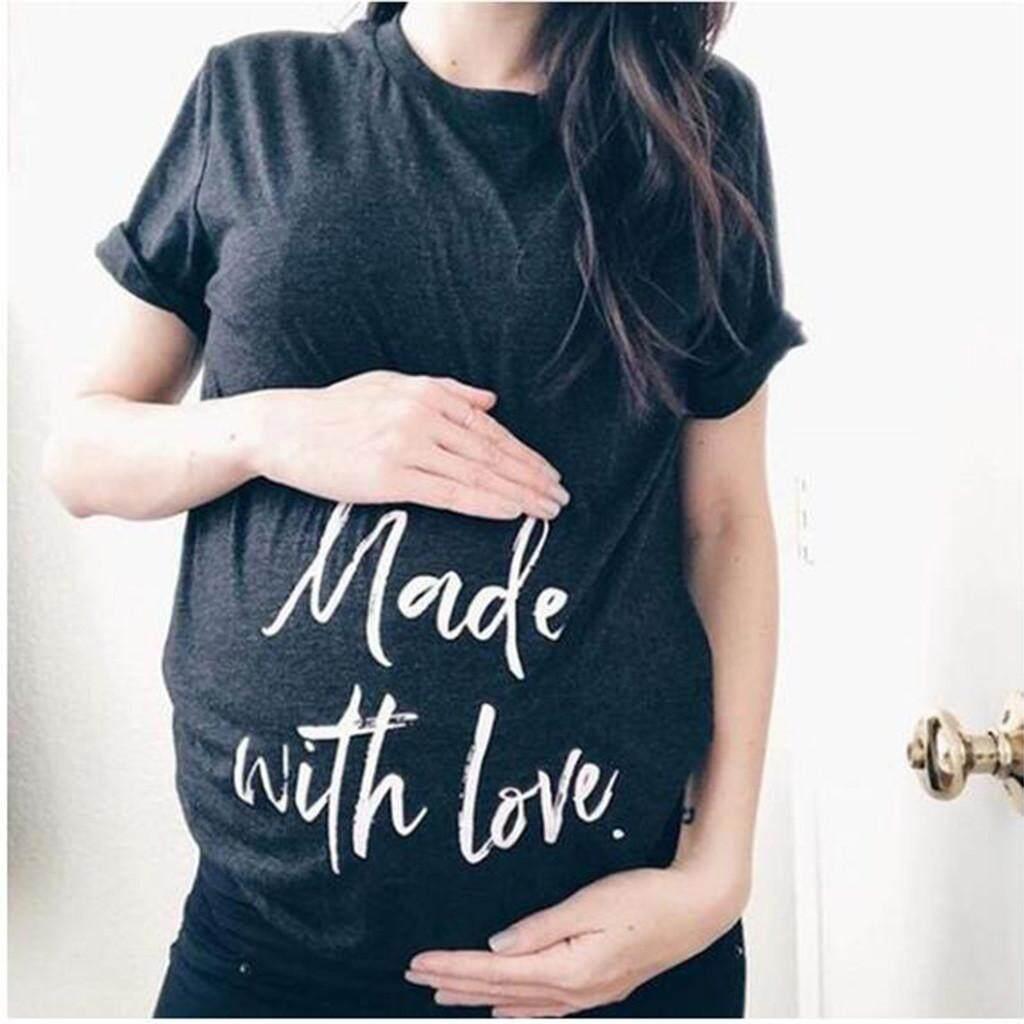 9dde129d6aa9f douajsonstore Women Short Sleeve Pregnant Maternity Nursing Letter Print T- Shirt Blouse Tops