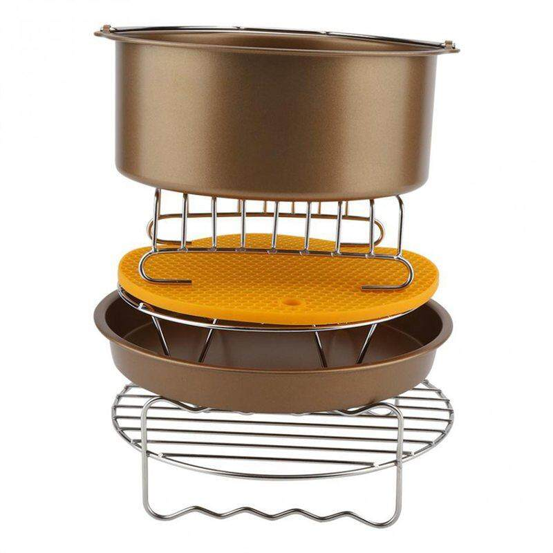 Air Fryer Accessories 8 Inch For 9 Pieces Air Fryer Cake Barrel Pizza Pan Silicone Mat Bread Shelf Food Clip Metal Rack Holder