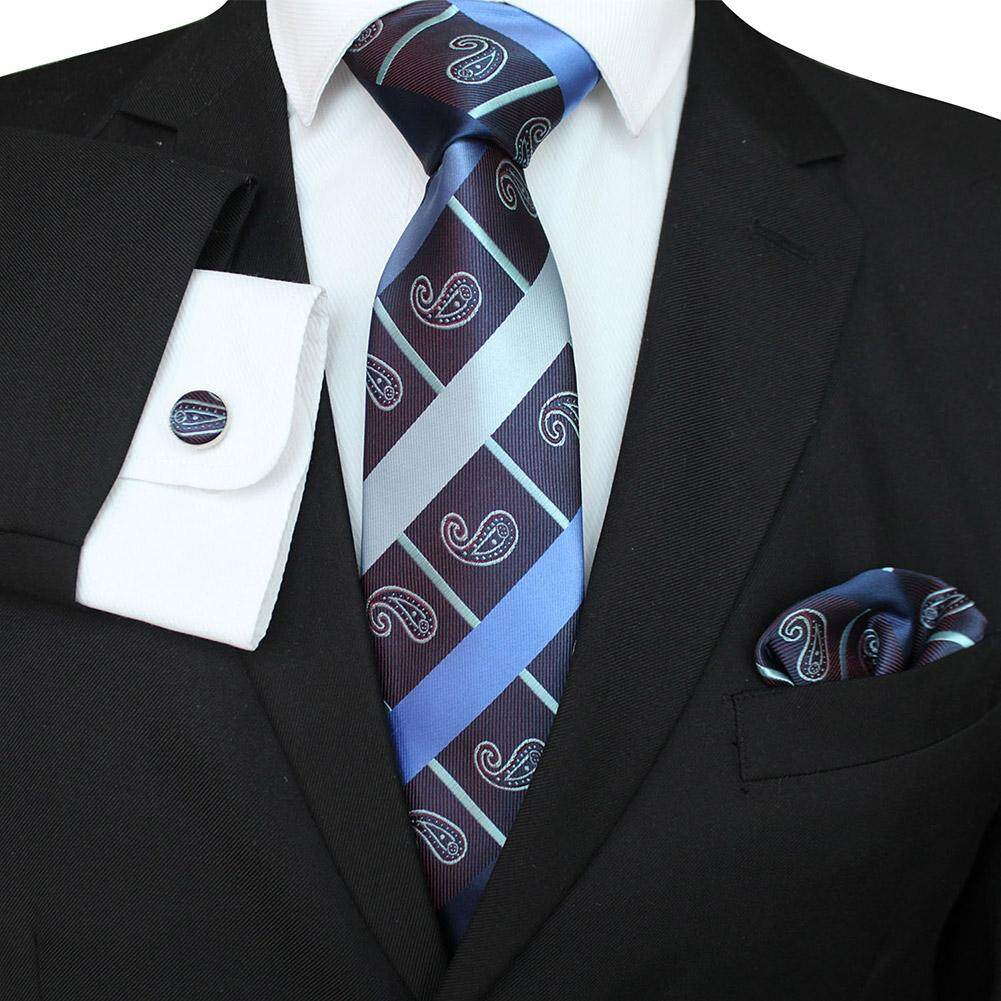 7788dae4b670 Redcolourful Men Business Classic Polyester Silk Tie Necktie Set Necktie +  Kerchief + Cuff-link